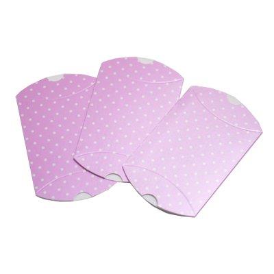 画像1: ピローボックス(プチギフト箱)ピンク×白ドット/3枚セット