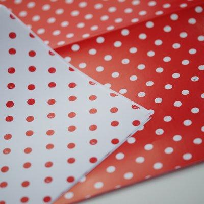 画像1: 〒 包装紙/赤×白ドット