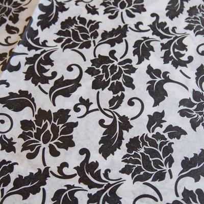 画像1: クシュ紙(3枚)ブラック花模様