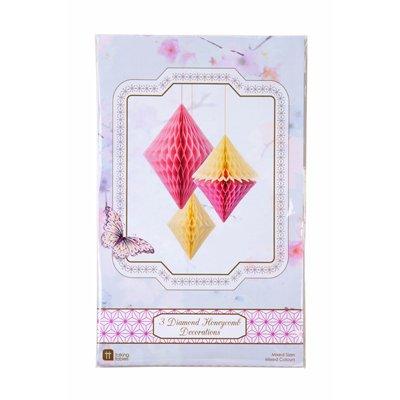 画像1: ダイヤ型ハニカムボール/ピンク&イエロー