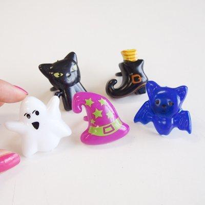 画像1: ケーキリング/ハロウィン(ネコ、帽子、くつ、コウモリ、オバケ)5個
