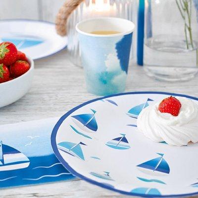 画像1: 紙皿(23cm)コーストブルー/ヨット3種