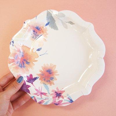 画像1: 紙皿(21.5cm)ネオンフローラル