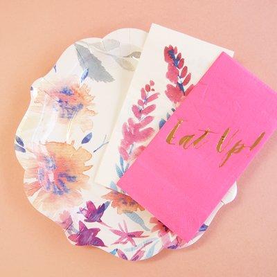 画像3: 紙皿(21.5cm)ネオンフローラル
