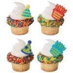 画像1: ケーキリング/ケーキ&パーティーハット(2種4個入) (1)