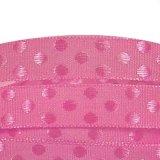 ドット刺繍リボン2m/ピンク