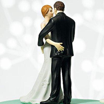 画像2: ウエディングケーキトッパー/腰に手をまわす花婿