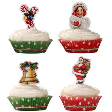 レトロなクリスマスの、カップケーキセット