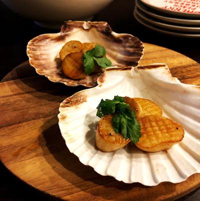 ホタテ貝のお皿、4枚セット