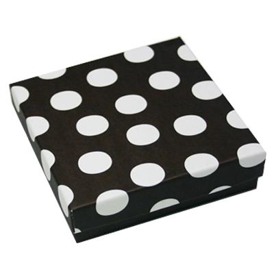 画像1: ギフト箱/ブラウン×白ドット(正方形) (1)