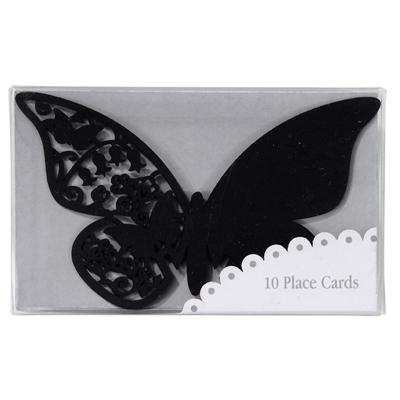 画像1: 〒 グラス用プレイスカード(席札)チョウチョ(黒) (1)