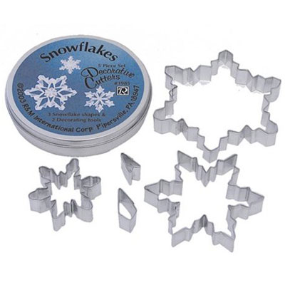 画像1: 〒 クッキー型5個セット缶/雪の結晶 (1)