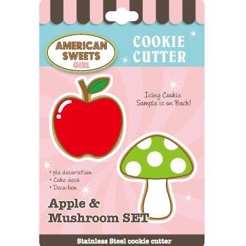 画像1: 〒 クッキー型(AS)リンゴ&キノコ【ステンレス】 (1)