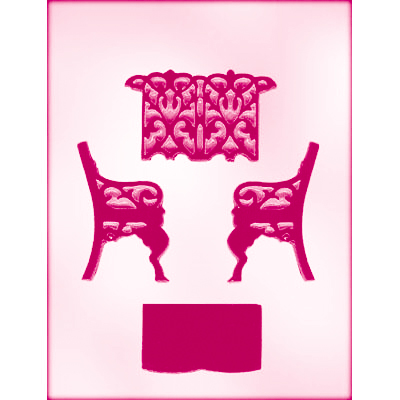 画像1: 〒 CK チョコレート型(立体3D)ガーデンベンチ (1)