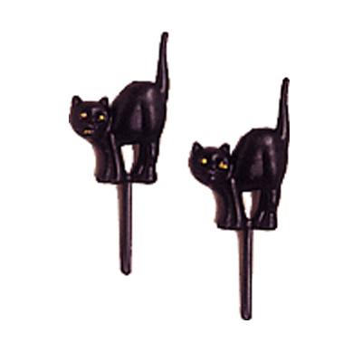 画像1: 〒 ケーキピック/黒猫(6本入) (1)