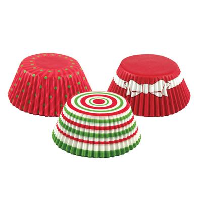 画像1: FoxRun ベーキングカップ 75枚(ケース入)クリスマスサークル3色 (1)