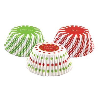画像1: FoxRun ベーキングカップ 75枚(ケース入)クリスマスキャンディ 3色 (1)