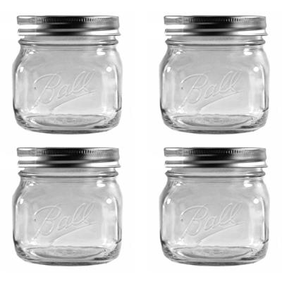 画像1: <SALE・送料無料>Ball メイソンジャー瓶 16oz/スクエア型4個セット(ワイド蓋) (1)