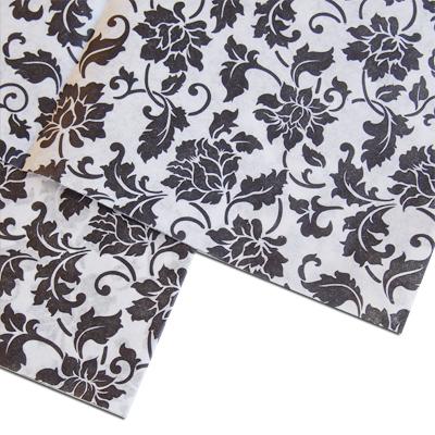 画像1: クシュ紙(3枚)ブラック花模様 (1)