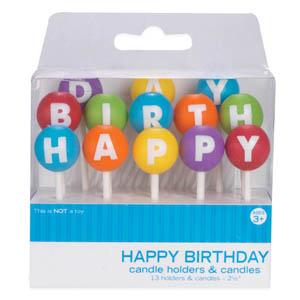 画像1: ケーキキャンドル&ホルダー/HAPPY BIRTHDAY (1)