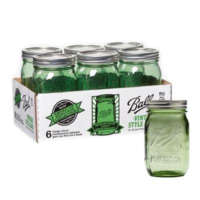 画像1: <SALE・送料無料>Ball メイソンジャー瓶 16oz/グリーン6個セット(レギュラー蓋) (1)