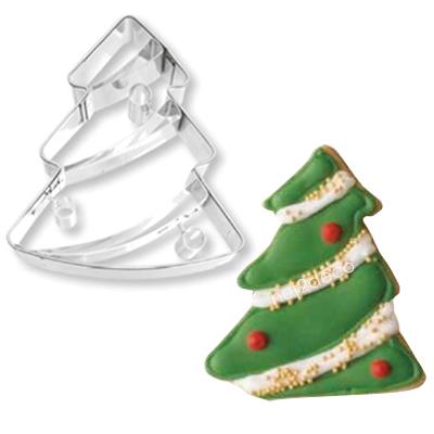 画像1: 〒 クッキー型(BIRKMANN)ライン付きクリスマスツリー【ステンレス】 (1)