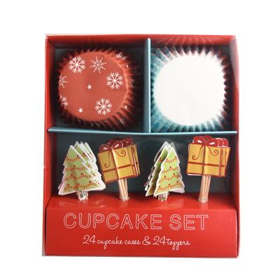 画像1: Table Fun(テーブルファン) ベーキングカップ&トッパー/Be Merry クリスマス (1)