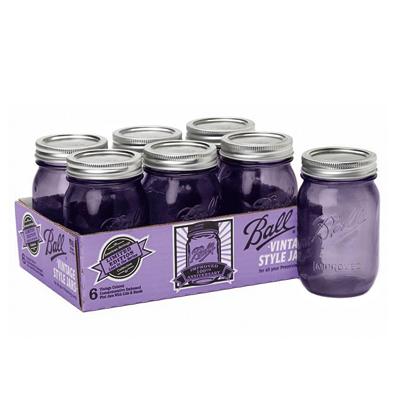 画像1: <SALE・送料無料>Ball メイソンジャー瓶 16oz/パープル6個セット(レギュラー蓋) (1)