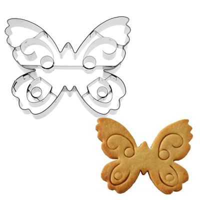画像1: 〒 クッキー型(BIRKMANN)チョウチョ 10cm 模様パーツ付(ステンレス) (1)