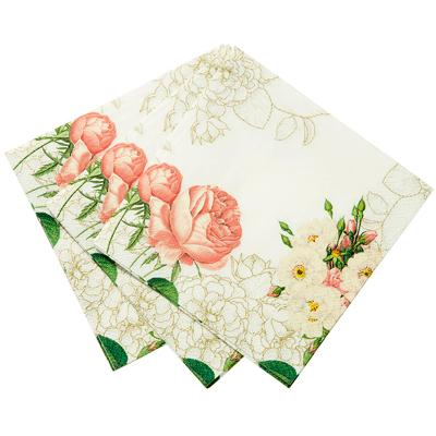 画像1: 〒 紙ナプキン(25cm)ホワイトローズ (1)