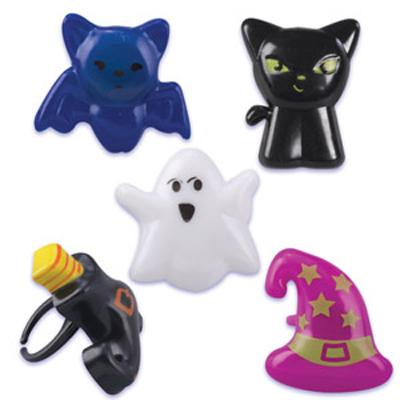 画像1: ケーキリング/ハロウィン(ネコ、帽子、くつ、コウモリ、オバケ)5個 (1)