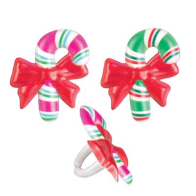 画像1: ケーキリング/クリスマスキャンディ(2種6個入り) (1)