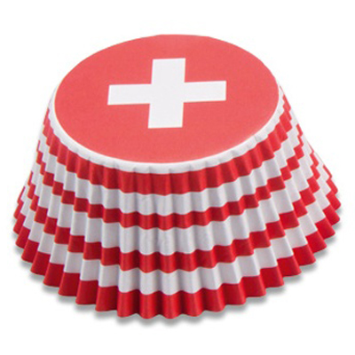 画像1: Stadter ベーキングカップ(50枚)スイス国旗 (1)