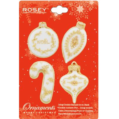 画像1: 〒 クッキー型(ROSEY)ミニ★クリスマスオーナメントセット(ステンレス) (1)