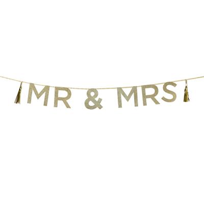 画像1: パーティバナー・ガーランド/Mr & Mrs (1)