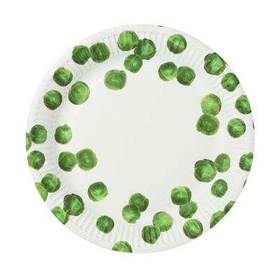 画像1: 紙皿(20cm)芽キャベツ柄(スプラウト) (1)