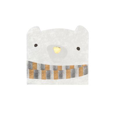 画像1: 〒 白クマ型の紙ナプキン(25×24cm)ノルディッククリスマス (1)