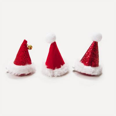 画像1: ヘアクリップ付きパーティーハット/クリスマスハット(6個セット) (1)