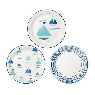 画像1: 紙皿(23cm)コーストブルー/ヨット3種 (1)