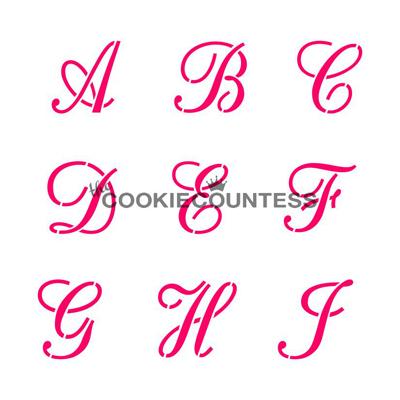 画像1: 〒 CC ステンシル/アルファベット(筆記体)4枚セット (1)