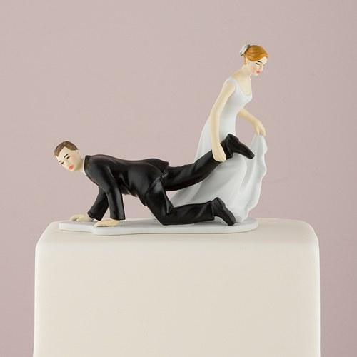 画像1: ウエディングケーキトッパー/足をひっぱる花嫁 (1)