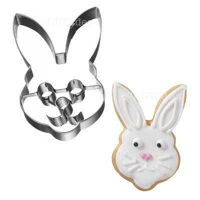 画像1: 〒 クッキー型(BIRKMANN)パーツ付き ウサギ顔【ステンレス】 (1)