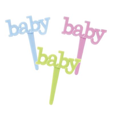 画像1: 〒 ケーキピック/baby文字(6本入) (1)