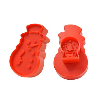 画像1: クッキー型(Wスタンプ)/スノーマン&スノードーム (1)