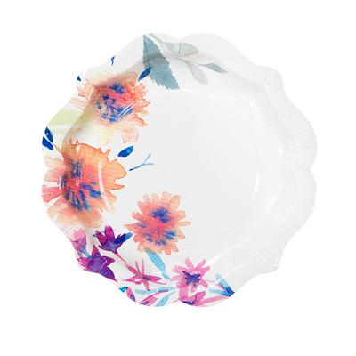 画像1: 紙皿(21.5cm)ネオンフローラル (1)
