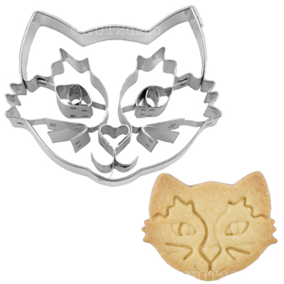 画像1: 〒 クッキー型(Stadter )パーツ付きネコ顔(ステンレス) (1)
