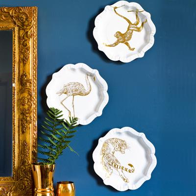 画像1: 紙皿(21.5cm)ゴールドアニマル (1)