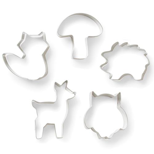 画像1: クッキー型(Fox Run)セット5個/森の動物(ステンレス) (1)