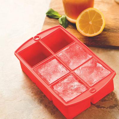 画像1: シリコン製 アイスキューブトレイ(製氷皿)メガサイズ(レッド) (1)