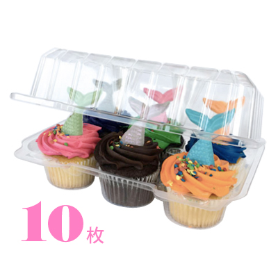 カップケーキプラケース 6個用 トール 10枚入 Nut2deco